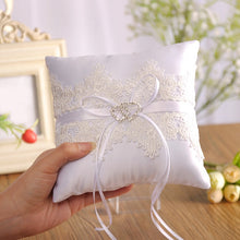 Load image into Gallery viewer, White Lace with Beading Decoration Ring Bearer Pillow