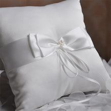 Load image into Gallery viewer, Double Bow Ribbon with Pearls Romantic Ring Pillow