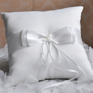 Double Bow Ribbon with Pearls Romantic Ring Pillow