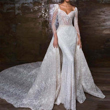 Load image into Gallery viewer, Luxury Beaded Mermaid Long Sleeve Gown with Detachable Skirt