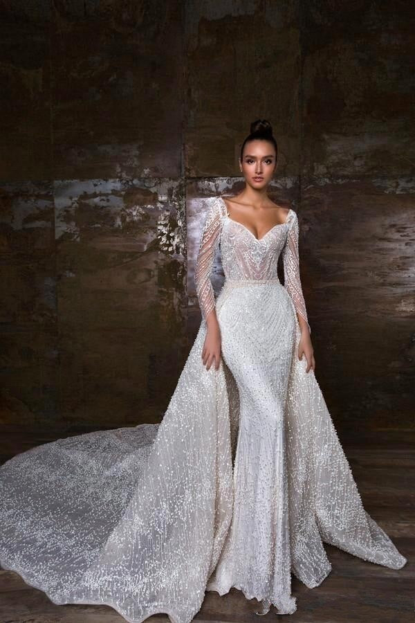 Luxury Beaded Mermaid Long Sleeve Gown with Detachable Skirt