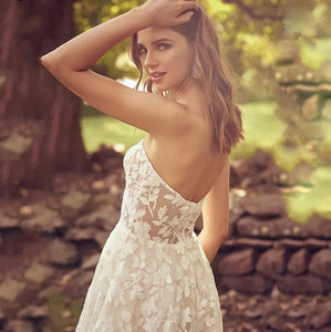Sweetheart Backless Boho Gown Lace & Tulle with 3D Appliques
