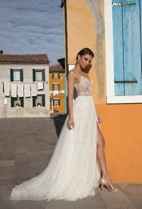 Beaded V Neck Spaghetti Strap Gown with Side Split