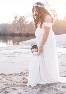 Off The Shoulder Lace Maternity Gown