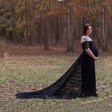 Load image into Gallery viewer, Off The Shoulder Lace Maternity Gown