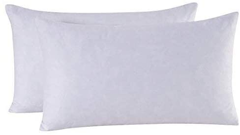 HOMESJUN Set of 2 Feather and Down Pillow Insert, 10x18 Rectangle Decorative Throw Pillow Insert, 100% Cotton, White