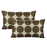 All Smiles Geometric Chocolate Lumbar Rectangle Oblong Throw Pillow Covers Cases 12x20 Set of 2 Home Decor Accent Decorative Cushion Outdoor for Couch Patio Sofa, Coffee Brown Color