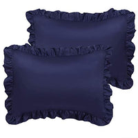 PiccoCasa Satin Pillow Cases for Hair and Skin, 2-Pack-Ruffled Pillow Shams Oxford Pillowcases Covers with Envelope Closure Black Boudoir (12x16inch + 3inch Hem)