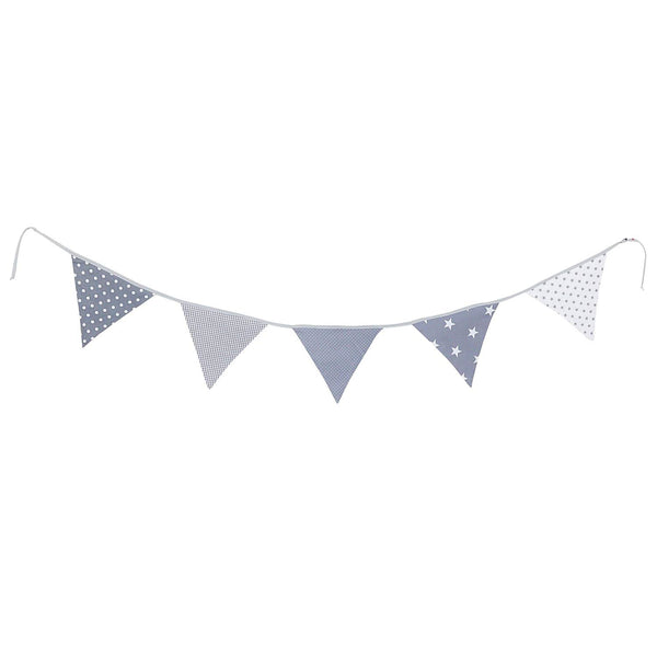 100% Cotton Fabric Bunting Flag Garland Pennant Banner by ULLENBOOM | Star/Checkered | Baby Shower/Party/Nursery | 6 Ft - Unisex Grey