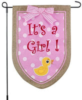 New Baby Banner Its A Girl Garden Flag, Yard Sign, Car Decoration - Pink Duck Design On Burlap Banner - 12x18 - Home Garden Flag
