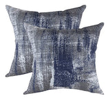 TreeWool Decorative Square Throw Pillowcases Set Brush Art Accent 100% Cotton Cushion Cases Pillow Covers (24 x 24 Inches / 60 x 60 cm; Navy Blue & Gray) - Pack of 2