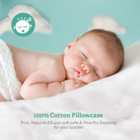 "Sable Baby Toddler Pillow for Sleeping with Premium Fiber, Oeko-Tex 100 Certified for Newborns & Infants Prevents Flat Head Syndrome, 100% Cotton Exterior 14"" x 19"", Contour Design, White"