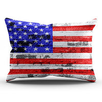 Fanaing Bedroom Custom Decor American Flag Pillowcase Soft Zippered Throw Pillow Cover Cushion Case Fashion Design One-Side Printed Boudoir 12x18 Inches