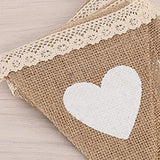 Jute Burlap Bunting Banner Vintage Heart Hessian Flag Decoration White Lace 2.8m for Wedding Party Birthday Baby Shower and Graduation Favor Decoration