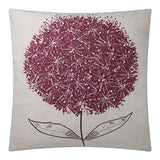JWH Hand Embroidery Accent Pillow Case Faux Pearl Cushion Cover Dandelion Flower Pillowcase Home Sofa Bed Living Room Decorative Shell Gift Light Gray 20 x 20 Inch