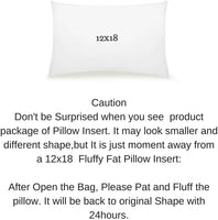 "Pal Fabric 12""x18"" Rectangular Pillow Insert for Sham or Decorative Pillow Made in USA (12x18)"