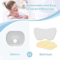 BAMMAX Toddler Pillow, Baby Pillow, Baby Sleeping Pillow with Pillowcase, Soft Breathable Memory Foam Head Shaping Pillow Flat Head Syndrome Prevention Head Support for Kids Over 12 Months Old, Yellow