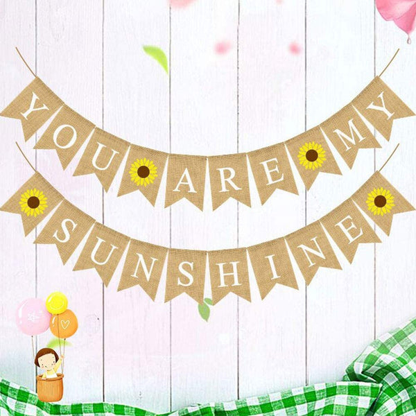 Cieovo Jute Burlap You Are My Sunshine Banner Garland with Sunflower Swallowtail Bunting for Wedding Baby Shower Birthday Party Supplies Decorations