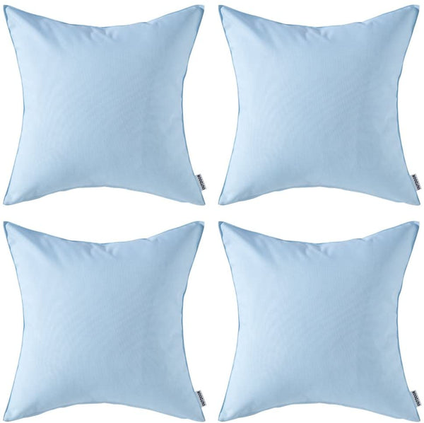 MIULEE Pack of 4 Decorative Outdoor Waterproof Pillow Cover Square Garden Cushion Case PU Coating Throw Pillow Cover Shell for Tent Park Couch 18x18 Inch Light Blue