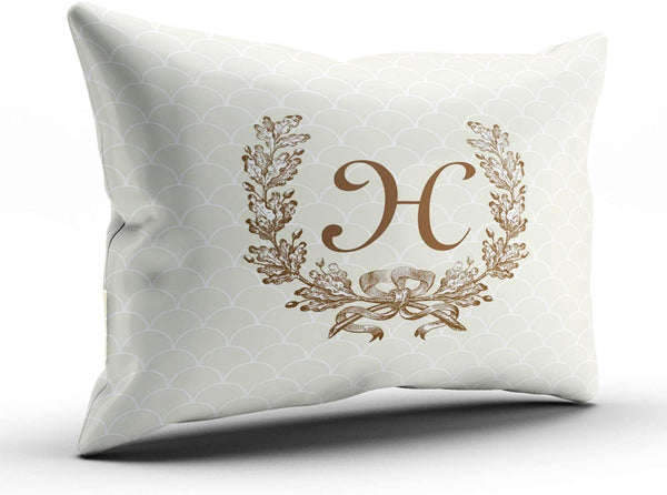 ONGING Decorative Pillowcases Vintage Decorator Monogrammed Wreath Customizable Cushion Rectangle Boudoir Size 12x18 inch Throw Pillow Cover Case Hidden Zipper One Side Design Printed