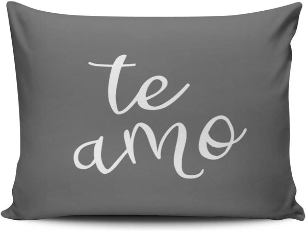 ANLIPU Personalized Decorative Pillowcases Chic Dark Gray and White Spanish I Love You Te Amo Throw Pillow Covers Cases Boudoir Rectangular Size 12x18 inches Print on One Side