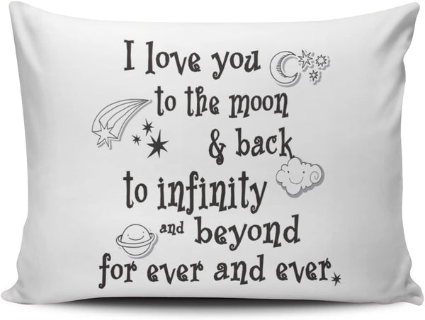 Hoooottle Custom White I Love You to the Moon and Back to Infinity Beyond For Ever and Ever Boudoir Pillowcase Rectangle Zippered One Side Printed 12x16 Inches Throw Pillow Case Cushion Cover