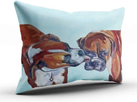 WULIHUA Decorative Throw Pillow Covers Boxer Dogs Pet Portrait Fine Zipper Pillowcases Throw Pillow Cushion Covers for Sofa One Side Printed Boudoir 12x18 Inches