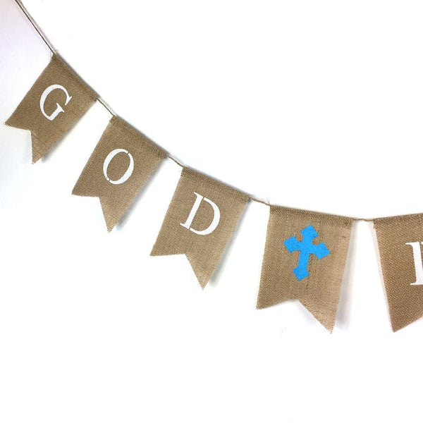 ZJCilected GOD BLESS Burlap Baptisim Banner, Holy Communion Party Banner Sign, Baptisim Christening Garland Decoration(Blue Cross)