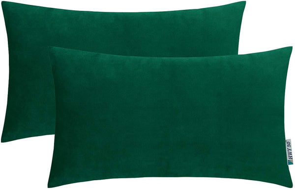 HWY 50 Velvet Soft Decorative Throw Pillows Covers Set Cushion Cases for Couch Sofa Living Room Rectangular 12 x 20 inch Deep Green Pack of 2 Comfortable