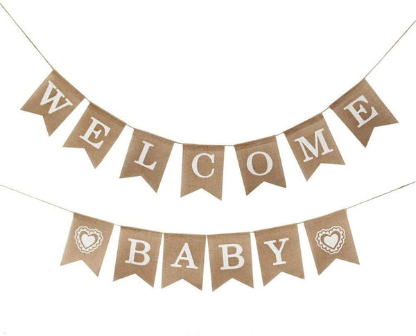 Jute Burlap Welcome Baby Banner Baby Shower Gender Reveal Boy Girl Party Decoration