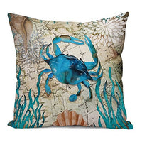Aremetop Sea Turtle Pillow Covers Cotton Linen Ocean Sea Beach Marine Animal Starfish Coral Decorative Turquoise Cushion Cover 18''x18'' Square Accent Throw Pillow Case for Sofa Couch Decor