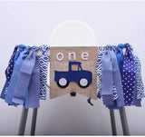Car 1st Birthday Party Decorations Highchair Banner Baby One Blue Truck Party Supplies Car Theme Baby Shower Photo Prop Booth Backdrop