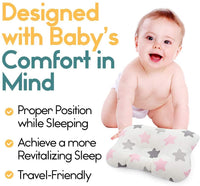 Baby Head Pillow for Newborn - Star Design, Breathable Mesh Cotton, Helps Prevent Flat Head Syndrome