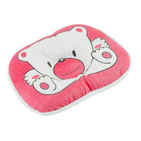 Detectorcatty Lovely Cute Bear Cartoon Pattern Pillow Newborn Infant Baby Support Cushion Pad Prevent Flat Head Cotton Pillow for Baby