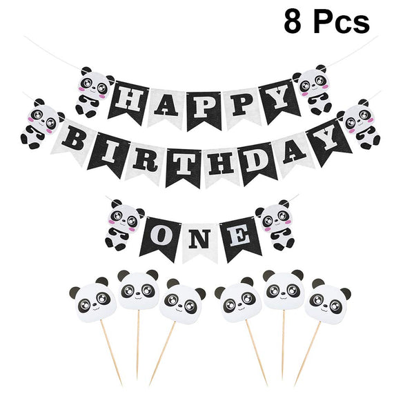 Amosfun 8pcs Happy Birthday Banner One Banner Panda Cake Topper Set for Panda Theme 1st Birthday Party Baby Shower Decoration