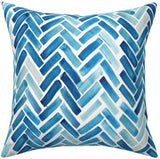 Roostery Throw Pillow, Blue Watercolor Chevron Aqua Herringbone Geometric Print, Linen-Cotton Canvas, Knife Edge Accent Pillow 18in x 18in with Insert