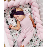 MAMERIA Baby Knot Crib Bumper Braided Handmade Bed Pillow Nursery Decor Soft Newborn Knotted Cradle Sleep Cushion (Pink, 157''/4m)
