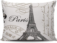 Fanaing Bedroom Custom Decor Vintage Paris Pillowcase Soft Zippered Ivory and Gray Throw Pillow Cover Cushion Case Fashion Design One Sided Printed Boudoir 12X20 Inches