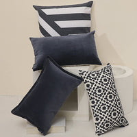 Aitliving Throw Pillow Covers 12x20 inches Cotton Velvet Slate Blue Decorative Pillowcase with Cotton Linen Reverse Boudoir Pillow Cover 1PC 30.5x50cm Navy Muted Dark Blue