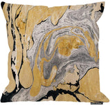 HGOD DESIGNS Throw Pillow Cover Black Gold Golden and Silver Marble Ink Abstract Painting Beautiful Gray Effect Aqua Decorative Pillow Case Home Decor Square 18X18 Inches Pillowcase
