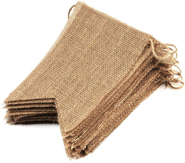 34Pcs Burlap Banner Adjustable Flags DIY Banners for Baby Shower, Party, Wedding and Birthday, 5 x 7 inch