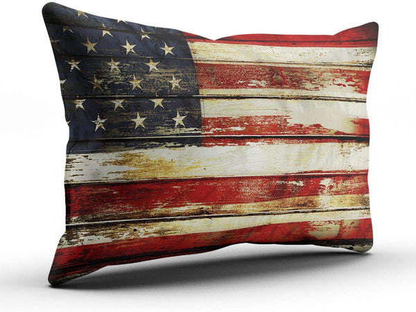 TBUFYU Pillowcases Decorative American Flag on Boards Boudoir Sofa 12x18 Inches Throw Pillow Covers Cushion Case One Sided Design Printed (Set of 1)