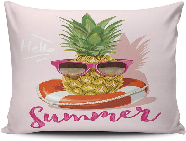Healbrighting Pillow Cases Hello Summer with Pineapple in Sunglasses Home Decorative Pillowcase Boudoir 12 x 16 Inch One Side Pattern Throw Pillow Covers