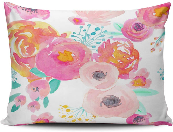 XIUBA Pillowcases Colorful Indy Bloom Blush White Customizable Cushion Decorative Rectangle 12X18 inch Boudoir Size Throw Pillow Cover Case Hidden Zipper One Sided Design Printed