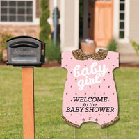 Big Dot of Happiness Hello Little One - Pink and Gold - Party Decorations - It's A Girl Baby Shower Welcome Yard Sign