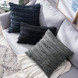 MIULEE Set of 2 Decorative Boho Throw Pillow Covers Cotton Linen Striped Jacquard Pattern Cushion Covers for Sofa Couch Living Room Bedroom 12x20 Inch Yellow