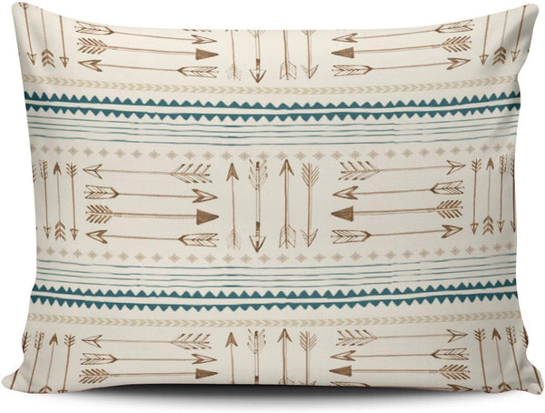 XIUBA Pillowcases Aztec Tribal Print Arrows Neutral Brown Beige Teal Customizable Cushion Decorative Rectangle 12X18 inch Boudoir Size Throw Pillow Cover Case Hidden Zipper One Sided Design Printed