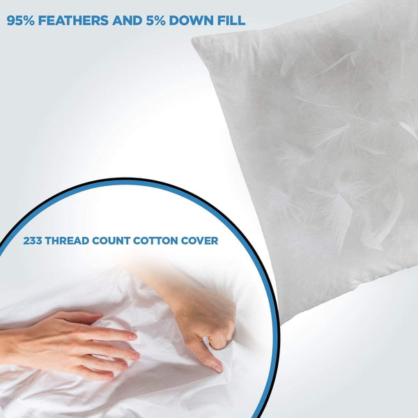 ComfyDown 95% Feather 5% Down, 14 X 24 Rectangle Decorative Pillow Insert, Sham Stuffer - Made in USA