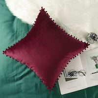 "Lewondr Velvet Throw Pillow Cover, 2 Pack Soft & Luxurious Pom Pom Pillow Cover Sofa Cushion Covers Sham with Tassel Balls for Home Bed Car Seat Christmas Decor 18""x18""(45x45cm), Burgundy"