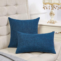 Anickal Set of 2 Teal Blue Lumbar Pillow Covers Cotton Linen Decorative Throw Pillow Covers 12x20 Inch for Sofa Couch Decoration